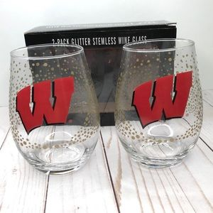 Other - WISCONSIN BADGERS NCAA Stemless Wine Glass Set